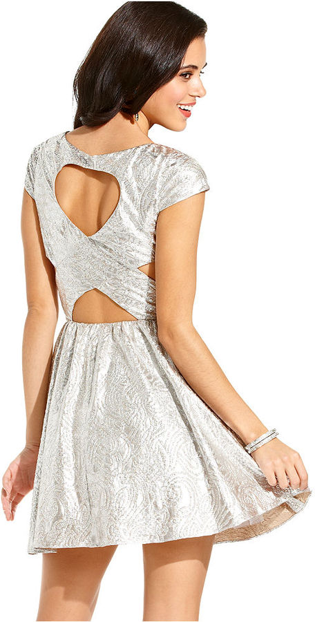 Hailey Logan Juniors Dress, Cap Sleeve Metallic Cutout Skater