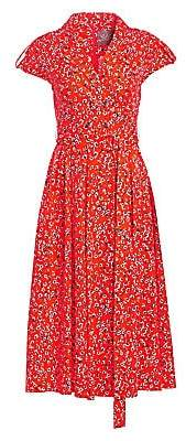 Lela Rose Women's Double-Breasted Dotted Floral Shirtdress
