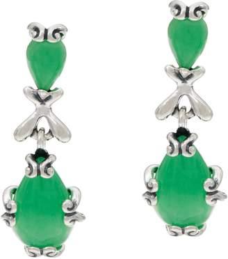 Carolyn Pollack Sterling Silver Jade Cabochon Dangle Earrings
