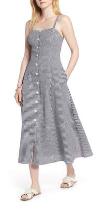1901 Gingham Button Front Cotton Blend Dress (Regular & Petite)