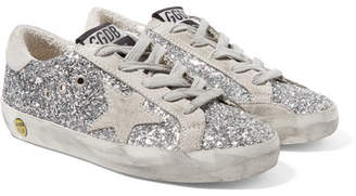 Golden Goose Kids - Size 28 - 35 Superstar Distressed Glittered Leather Sneakers