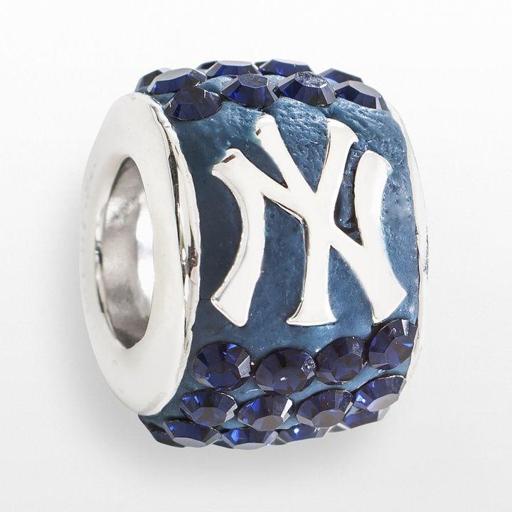 LogoArt New York Yankees Sterling Silver Crystal Logo Bead - Made with Swarovski Crystals
