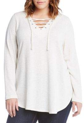 Karen Kane Plus Lace-Up Tee