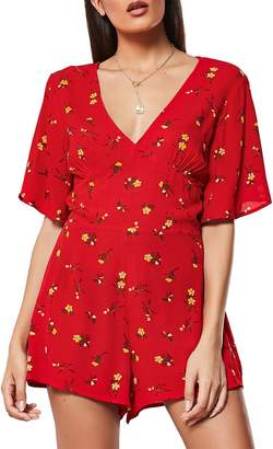 Missguided Ditsy Print Button-Down Romper