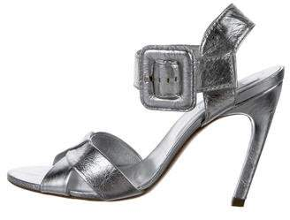 Roger Vivier Metallic Leather Peep-Toe Sandals