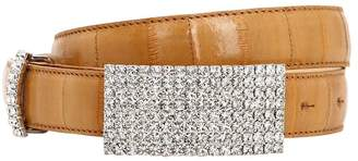 Alessandra Rich 25mm Croc Embossed Leather Crystal Belt