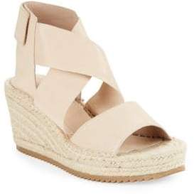 Eileen Fisher Willow Tumbled Leather Espadrilles Platform Wedge Sandals
