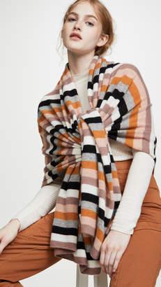 White + Warren Multi Color Stripe Cashmere Travel Wrap