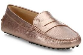 Tod's Gommini Metallic Leather Drivers $425 thestylecure.com