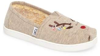 Toms Classic Reindeer Embroidered Faux Fur Lined Sneaker - Wide Width Available (Little Kid & Big Kid)