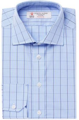 Turnbull & Asser Light-Blue Slim-Fit Cutaway-Collar Checked Cotton-Poplin Shirt