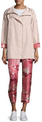 Moncler Pulsatille Hooded Canvas Jacket, Blush
