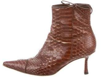 Chanel Snakeskin Pointed-Toe Ankle Boots