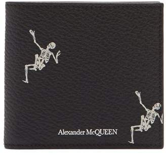 Alexander McQueen Dancing Skeleton Print Bi Fold Leather Wallet - Mens - Black White