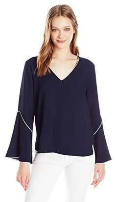Calvin Klein Women's V-Neck Bell Sleeve Blouse