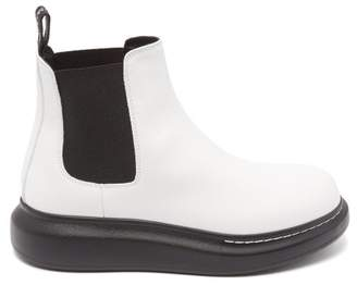 Alexander McQueen Raised Sole Leather Chelsea Boots - Womens - White Black