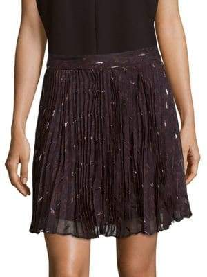 Haute Hippie Goodnight Pleated Silk-Blend Mini Skirt