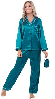 Alexander Del Rossa Womens Satin Pajamas, Long Button-Down Pj Set and Mask, 3X Ocean Depth with Piping (A0750ODP3X)