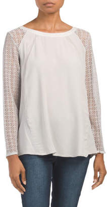 Woven Lace Sleeve Detail Top