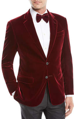Giorgio Armani Men's Velvet Two-Button Sport Coat Jacket, Merlot