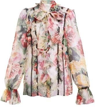 f8bd7236076d0 Dolce   Gabbana Floral Print Tie Neck Silk Blend Chiffon Blouse - Womens -  White Multi