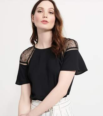 Dynamite Flutter Sleeve Tee with Lace BLACK