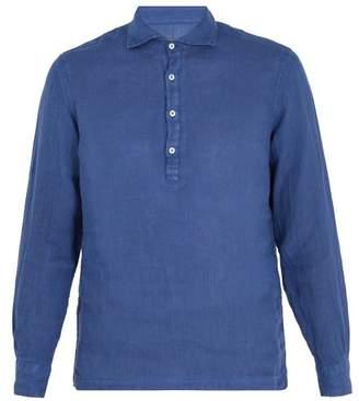 Altea Spread Collar Linen Shirt - Mens - Navy