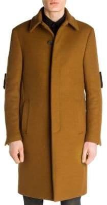 Fendi Shearling-Detail Wool Coat