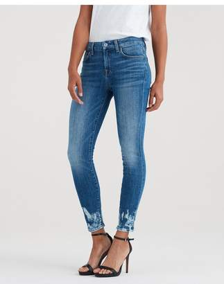 7 For All Mankind Ankle Skinny With Bleach And Holes At Hem In Desert Oasis