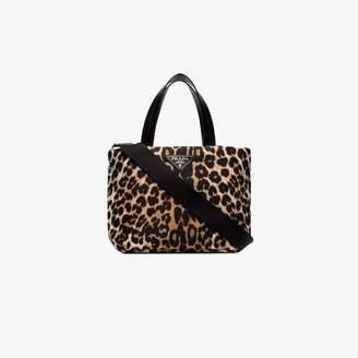 Prada Brown and Black Small Leopard print Tote bag