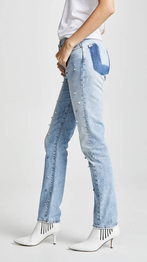 Tapered Boyfriend Jeans with Imitation Pearls