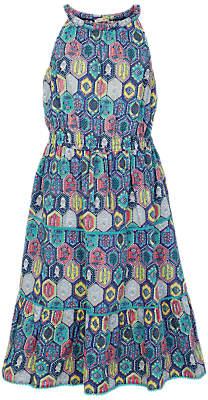 Fat Face Girls' Edith Tile Dress, Navy