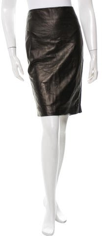 Tom Ford Knee-Length Leather Skirt w/ Tags
