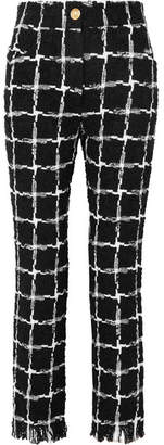 Balmain Frayed Checked Tweed Straight-leg Pants - Black