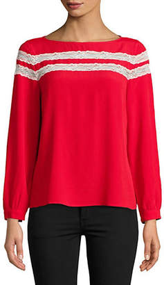 Marella Nisida Lace-Trim Silk Blouse