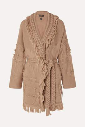 Alanui Fringed Wool, Silk And Cashmere-blend Jacquard Cardigan - Beige