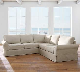 Pottery Barn PB Comfort Roll Arm Slipcovered 3-Piece L-Shaped Sectional with Corner