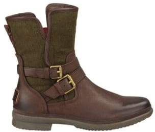 UGG Simmens Leather & Felt Shearling-Lined Boots