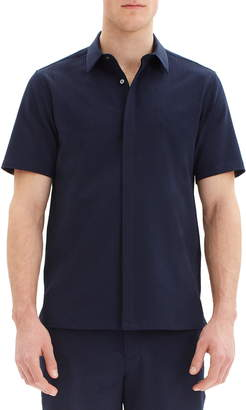 Theory Irving Slim Fit Short Sleeve Button-Up Seersucker Shirt