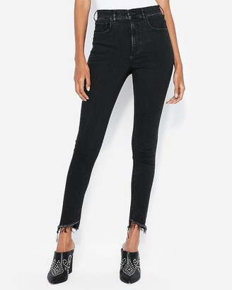 Express Super High Waisted Washed Black Denim Perfect Ankle Leggings