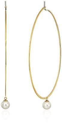 Michael Kors Modern Classic Pearl -Tone and White Pearl Hoop Earrings