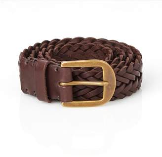 Awling - Braided Handmade Leather Belt Walnut Brown and Brass
