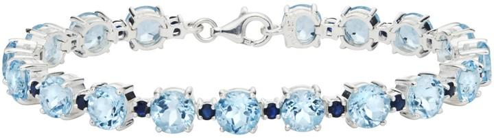 Ice.com 31 Carat Blue Topaz and Sapphire Sterling Silver Bracelet