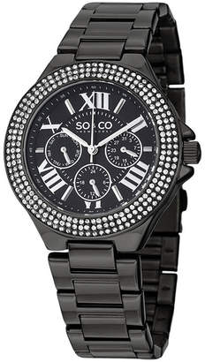 Co SO & NY Womens Madison Black Stainless Steel Bracelet Black Pvd Bezel Filled With Crystals Dress Quartz Watch J151P96