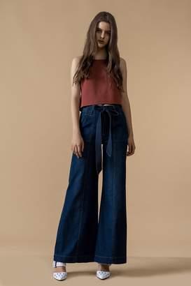 Genuine People Wide Leg Belted Jeans