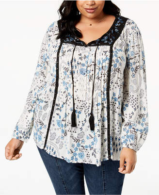 Style&Co. Style & Co Plus Size Mixed-Print Pleated-Front Grommet Peasant Top