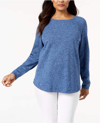 Karen Scott Cotton Curved-Hem Sweater