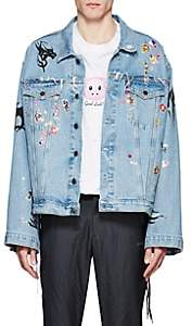Vetements Men's Sticker-Print Denim Oversized Jacket-Blue