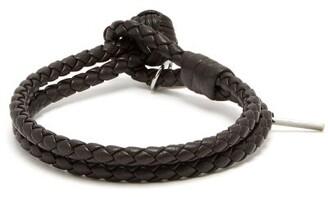 Bottega Veneta Double Wrap Leather Bracelet - Mens - Brown