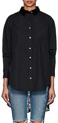 Sacai Women's Cotton Poplin & Lace Blouse - Black, Navy